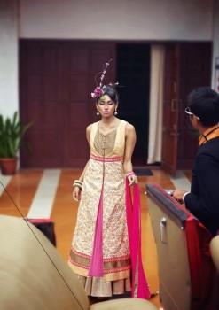 Creamish Charming Diva Long Anarkali Designer Party-Wear