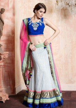 Pink & Off White Net Lehenga Choli With Stone Work