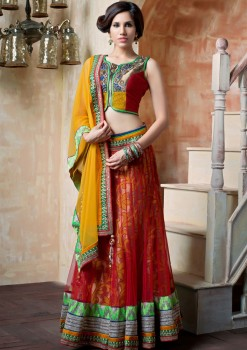 Red & Mustard Net Lehenga Choli With Zardosi Work