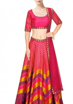 Astonishing Pink Silk Stripe Work Crop Top Lehenga