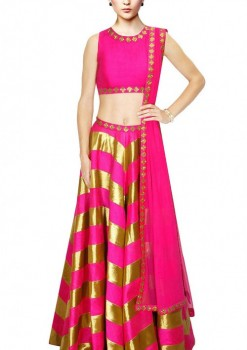 Beautiful Golden Stripe Pink Silk Crop Top Lehenga