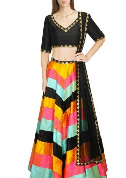 Exclusive Sequins Work Multi Color Silk Crop Top Lehenga