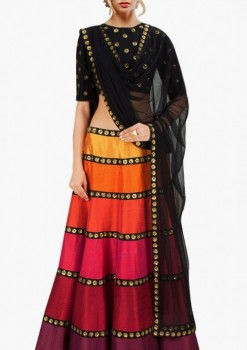 Fantastic Multicolor Raw Silk Designer Crop Top A Line Lehenga