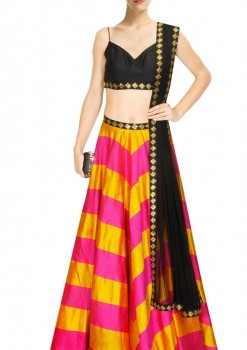 Fantastic Yellow And Pink Silk Crop Top Lehenga With Black Dupatta