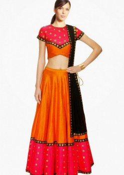 Fashionable Orange Raw Silk Wedding Lehenga Choli With Black Dupatta